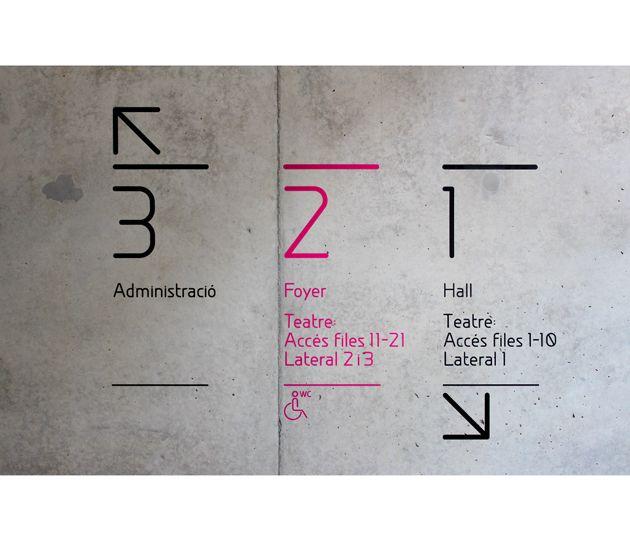by Canya. Diseno de identidad corporativa La Rambleta. #signage #sign #design #wayfinding #block #wall #concrete #floor #levels