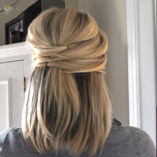 hairstyle for short hair - Half-up Half-down  5 Hair ideas every short haired girl needs to try