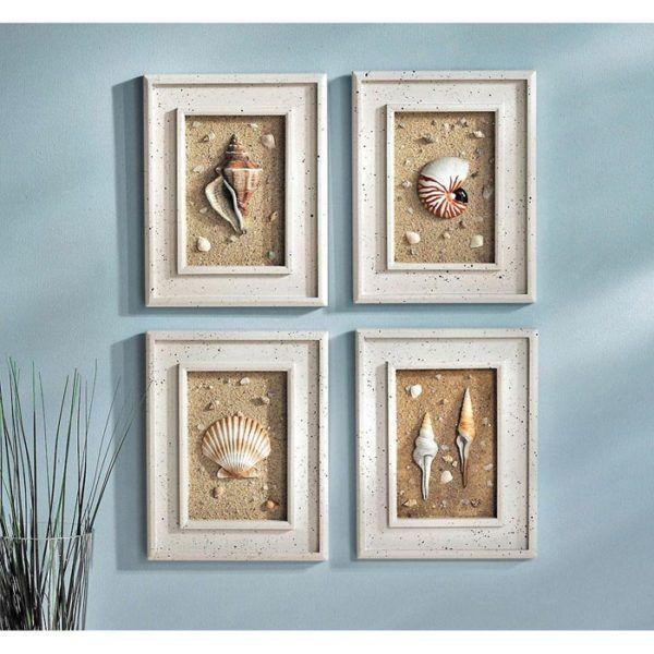 Diy Crafts With Shells 43 Inspirational Ideas For Creative Minds Seashell Wall Decor Seashell Bathroom Decor Beach Themed Wall Art