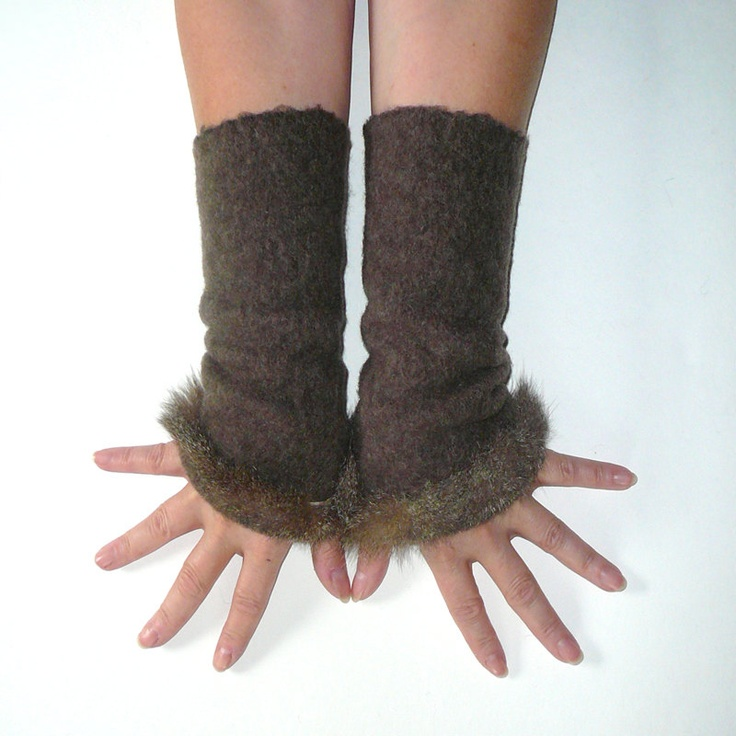 Brown wrist warmers, soft elastic felted wool mixture with small fur edge. $36.00, via Etsy.