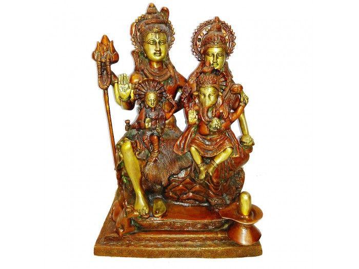 Lord Shiva Parivar Statue In Antic Finish