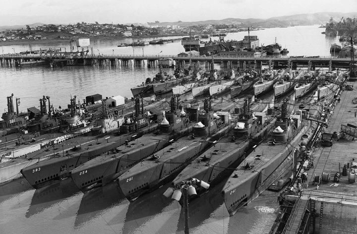Inactivated submarines at Mare Island on 3 January 1946. Front row left to right: Sand Lance (SS-381) next two could be Sealion (SS-315) and Seahorse (SS-304) Searaven (SS-196) Pampanito (SS-383) Gurnard (SS-254) Mingo (SS-261) Guitarro (SS-363) Bashaw (SS-241). Back row left to right: Unknown Tunny (SS-282) next three could be Sargo (SS-188) Spearfish (SS-190) and Saury (SS-189) Macabi (SS-375) Sunfish (SS-281) Guavina (SS-362) Lionfish (SS-298)Piranha (SS-389). The Scabbardfish (SS-397) is…