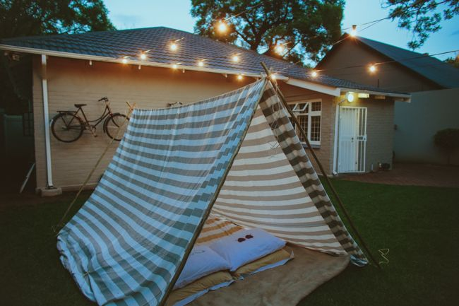 A romantic date idea: build a tent in your backyard! It's kinda creepy how similar this backyard set up is compared to Michael's backyard...