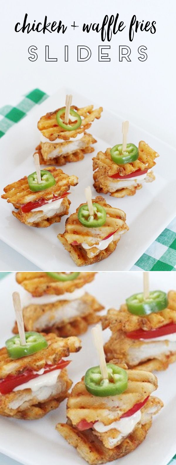 The perfect Super Bowl party food! A play on chicken and waffles -- these are chicken and waffle fries made into sliders!