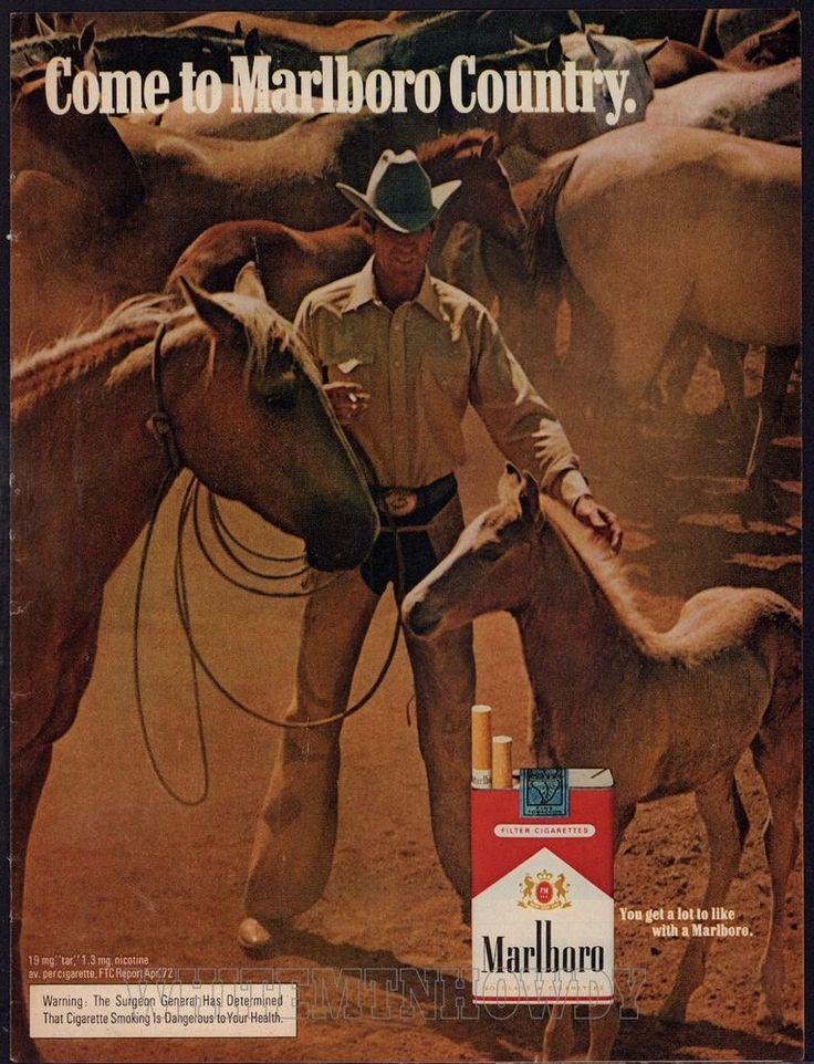 1972 MARLBORO MAN CIGARETTES AD Cowboy w/ Mare & Foal