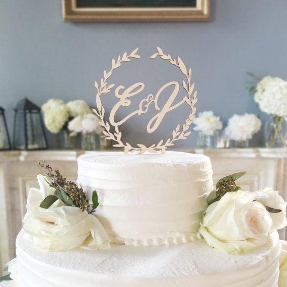 Wreath  Calligraphy Caketopper  Weddings & Custom