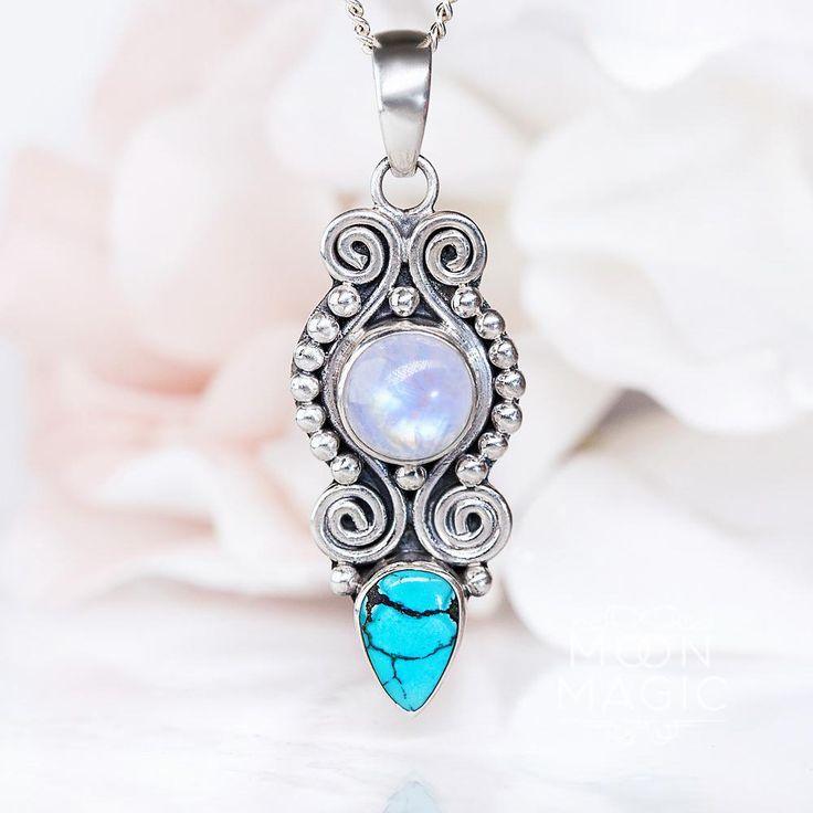 Moonstone Pendant - Turquoise Assemblage