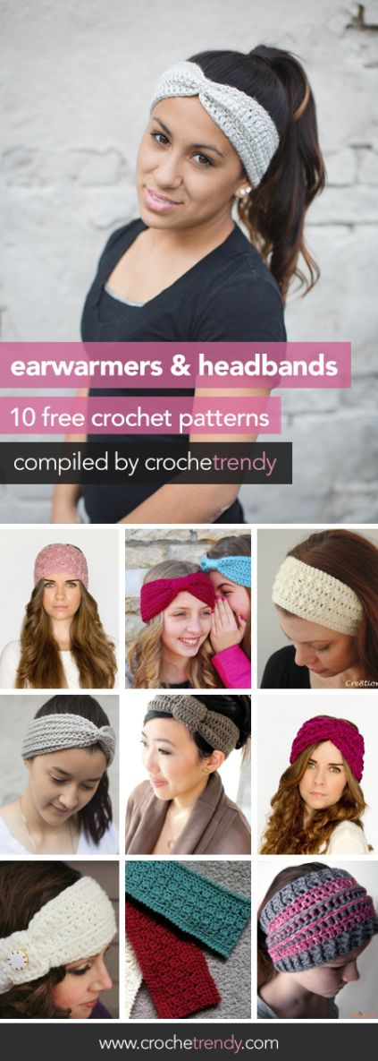 10 Free Ear Warmer & Headband Crochet Patterns  |  Roundup by Crochetrendy.com