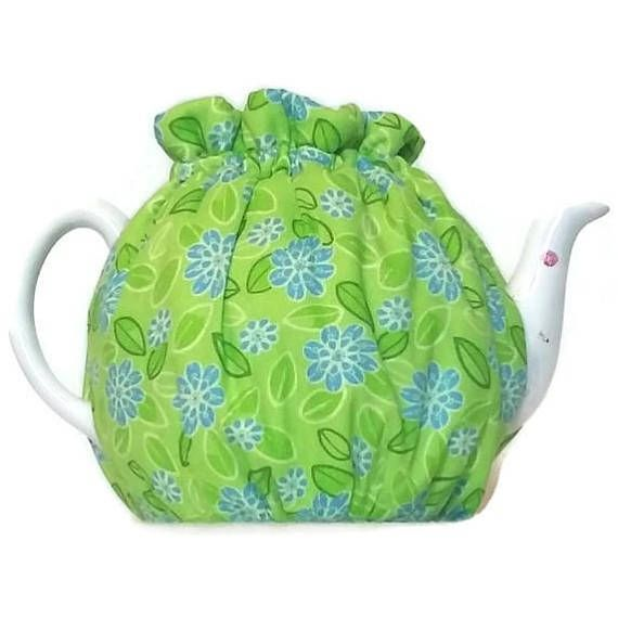 Teapot Cozy quilted tea warmer with Blue flowers on Green