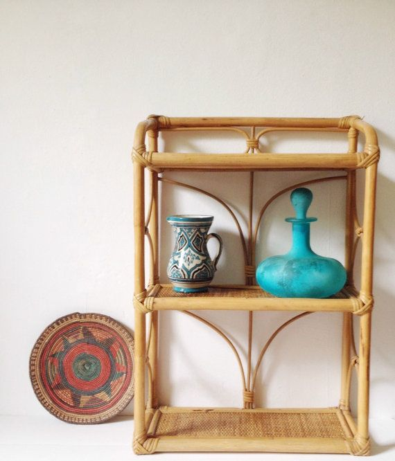 Vintage bamboo shelf unit by VelvetEra on Etsy