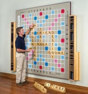 Wall Scrabble, awesome >> Might be worth painting!