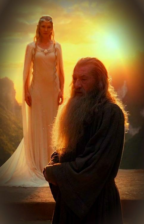 Gandalf and Galadriel ~ The Hobbit: An Unexpected Journey. I Love her dress.