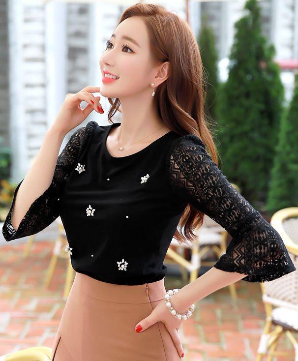StyleOnme_Beaded Lace Sleeve T-shirt #black #lace #feminine #tee #koreanfashion #kstyle #kfashion #dailylook