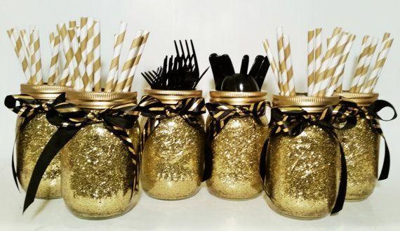 Hochzeitsmittelstück Einmachglas Mittelstücke Gold von LimeAndCo #einmachglas #hochzeitsmittelstuck #limeandco #mittelstucke -