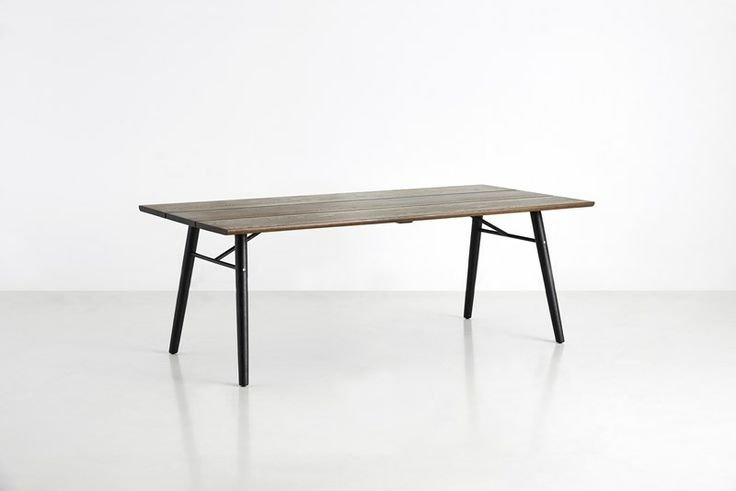 Split dining table, smoked oil treated solid oak tabletop with black legs • Designed by Says Who #diningtable #table #planktable #design #WOUDdesign