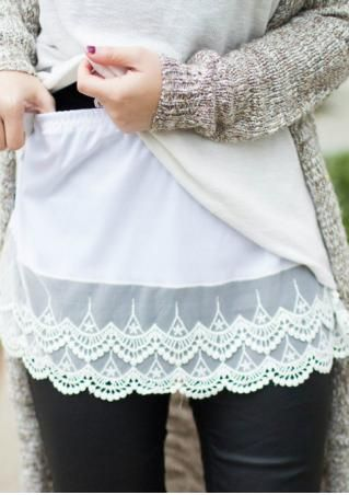Solid Lace Splicing Shirt Extender