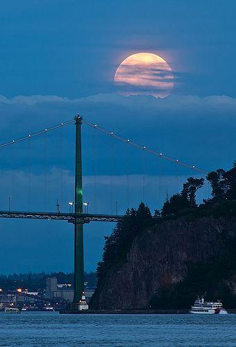 Moon Over Lions Gate Bridge - Vancouver, British Columbia, Canada