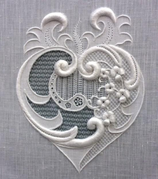 heart in whitework