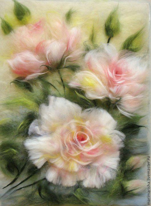 Картины цветов ручной работы. Картина из шерсти Кремовые розы. Марина Аскерова 'Шерстяные картины'. Ярмарка Мастеров. Живопись