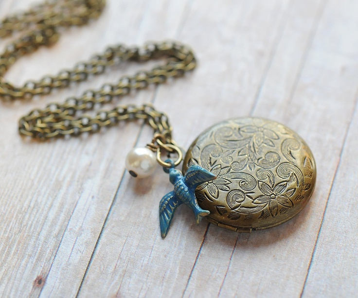 Locket Necklace Jewelry Rustic Country Wedding Jewelry Bridesmaid Blue Bird Locket Antique Locket. $28.00, via Etsy.
