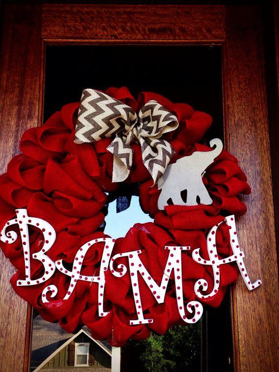 BAMA Alabama Football Burlap Wreath, Roll Tide, Game Day, SEC, Fall Wreath, Door Decor, Chevron, College Football