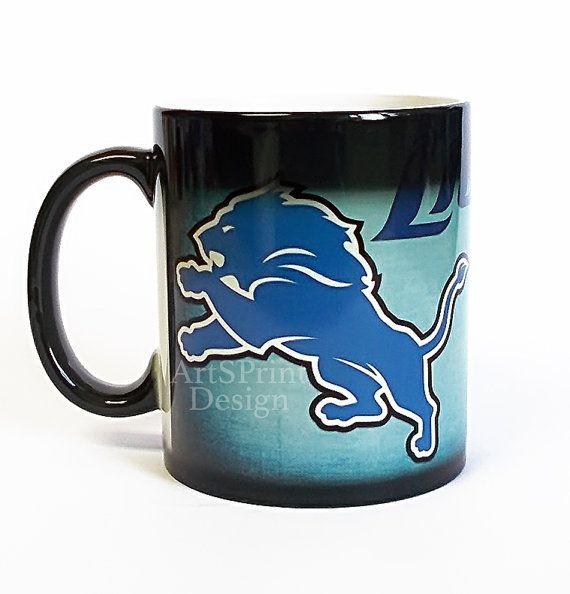 Custom Detroit Lions Mug Color Changing Mug Detroit by ArtsPrint