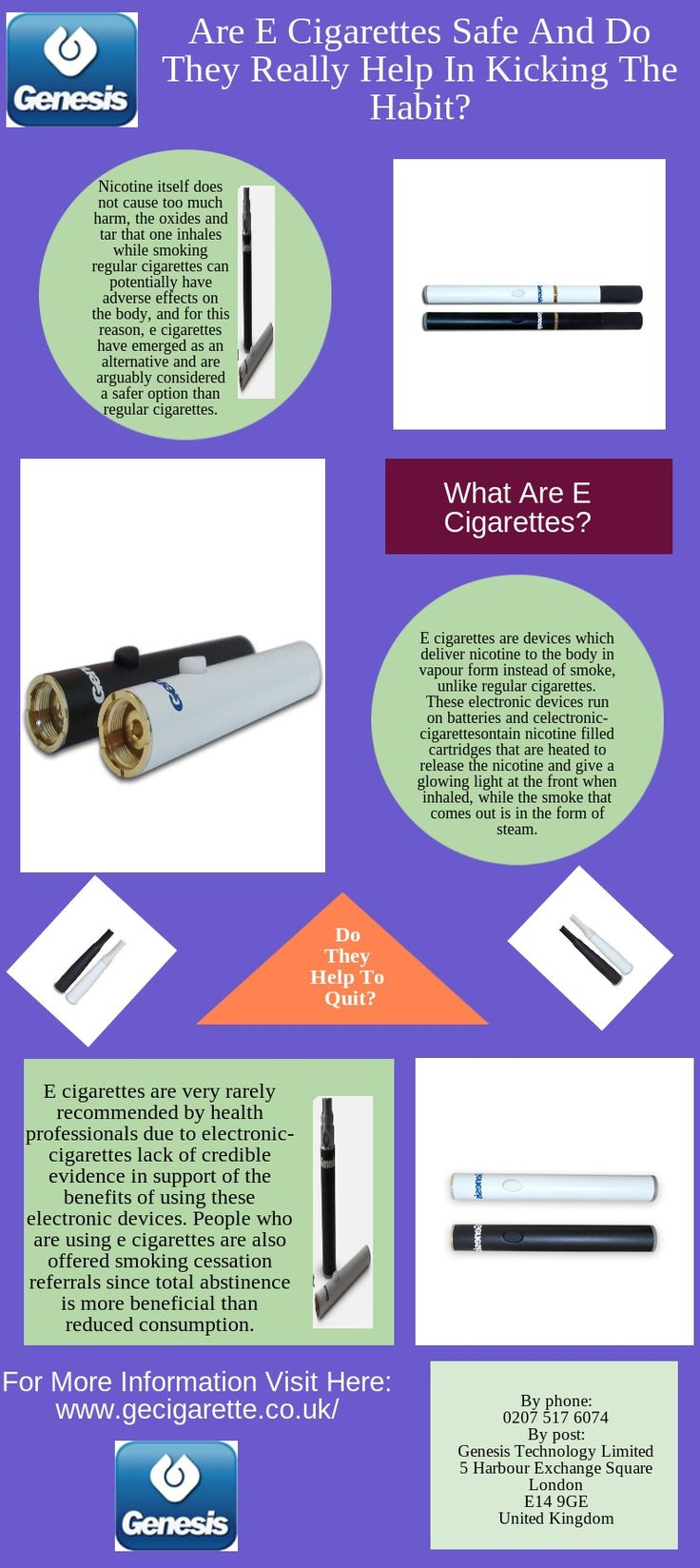 E cigarettes are devices which deliver nicotine to the body in vapour form instead of smoke, unlike regular cigarettes.