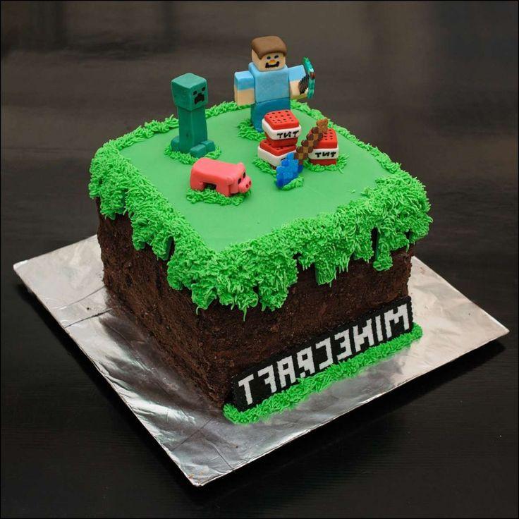 minecraft cake with grass fondant birthday parties pinterest d coration de g teau d. Black Bedroom Furniture Sets. Home Design Ideas