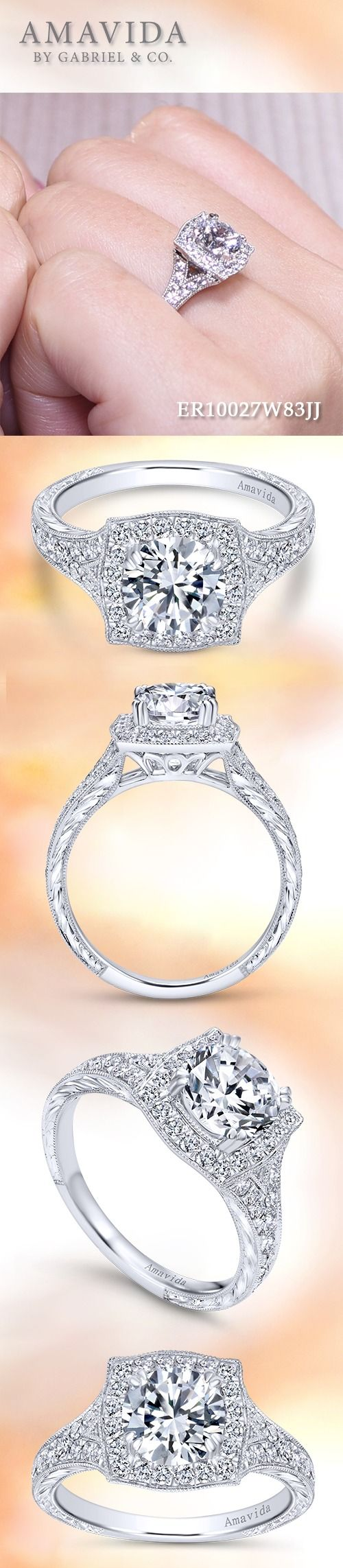 AMAVIDA by Gabriel & Co.-Voted #1 Most Preferred Fine Jewelry and Bridal Brand. Meet Felicity - Romantic halo engagement ring, a diamond band with antique-style engraving and milgrain borders features a subtle split at each shoulder.