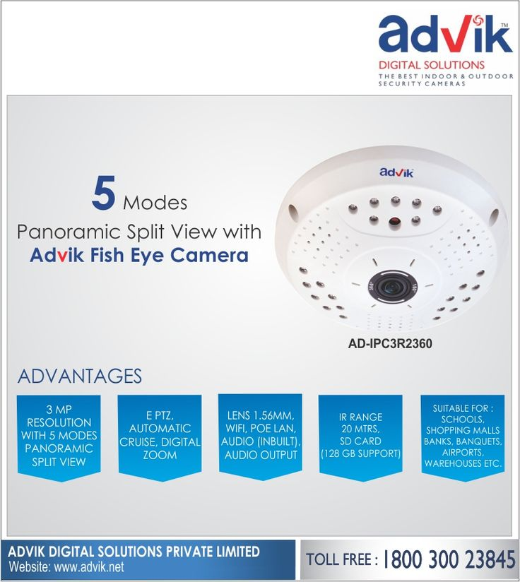 5 Modes Panoramic Split View with Advik #FishEyeCamera!!! Enjoy an unparalleled surveillance experience with Advik's Fish Eye #Camera. It supports 5 modes panoramic split view for an enhanced user experience and comprehensive #security.More information: http://advik.net/products/security-camera/360-degree-security-camera.html