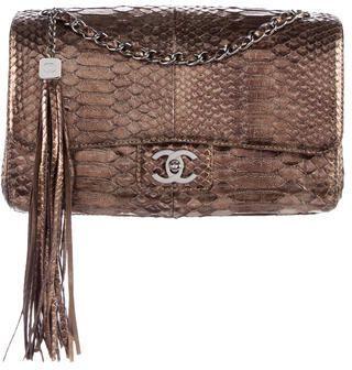 Chanel Medium Python Tassel Flap Bag