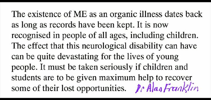 """On the whole if parents feel their child is really ill they're likely to be right."" Dr Franklin to me (1996) #pwme #parents #education #cfs"