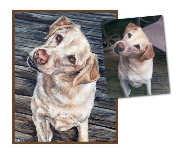 custom pet portrait dog painting original oil yellow lab dog puppy art great gift 14x18 made to order by Heather Hughes