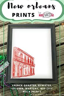 New Orleans art prints on archival canvas paper featuring French Quarter landmarks. This wall art will be a great souvenir of your NOLA experience.