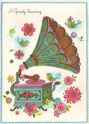 vintage 50s get well greeting card, unused, featuring fantastic illustration of old fashioned gramophone record player, birds and flowers free shipping to canada and usa