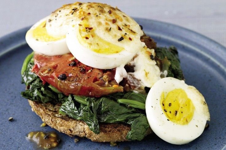 This open-faced sandwich courtesy of Lose Weight the Smart Low-Carb Wayhas got nothing to hide! Once you crunch into the toasty English muffin, spinach, tomatoes, egg and lightly browned mayo you'll be well on your way to a balanced breakfast. The best part is you'll get to share the other half of your English muffin …