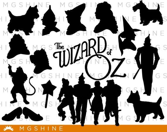 Wizard Of Oz Svg For Cricut Silhouette Wizard Of Oz Silhouette Wizard Of Oz Png Clipart Wizard Of Oz Dxf Vector Fil Wizard Of Oz Silhouette Paper Wizard