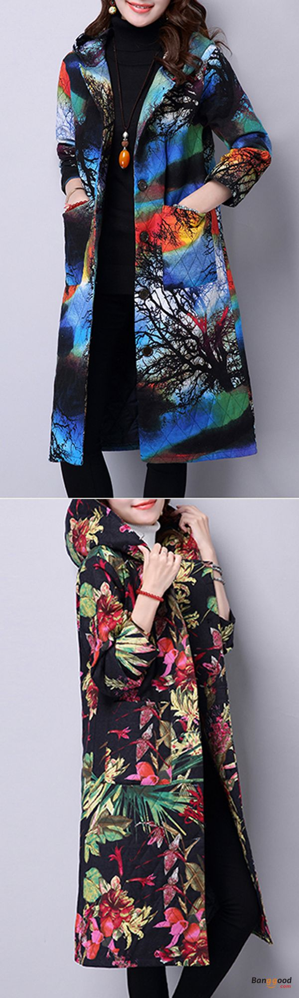 US$44.99 + Free shipping. Size: S~3XL. Fall in love with elegant and casual style! Folk Style Women Hooded Floral Printed Cotton-Padded Long Coat.