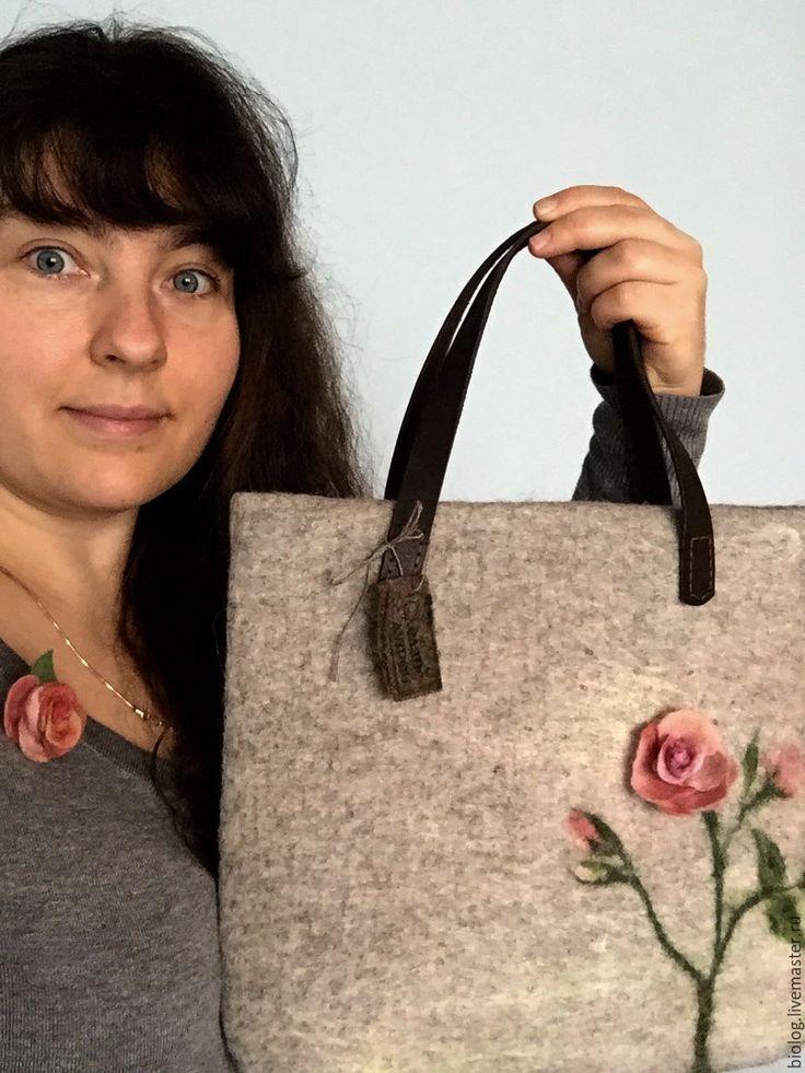 """Купить сумка """"Роза на счастье"""" сумка с розой, розы из шерсти - валяная сумка, сумка с рисунком"""