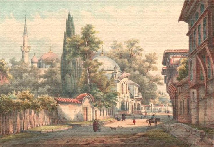 Painting of Eyüp Sultan Mosque in Istanbul, Turkey - Drawings | IslamicArtDB.com