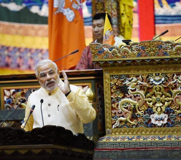 PM addressing the Bhutan Parliament House
