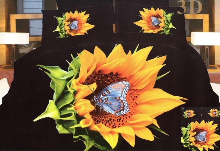 Čierne posteľné obliečky s motýľom na slnečnici