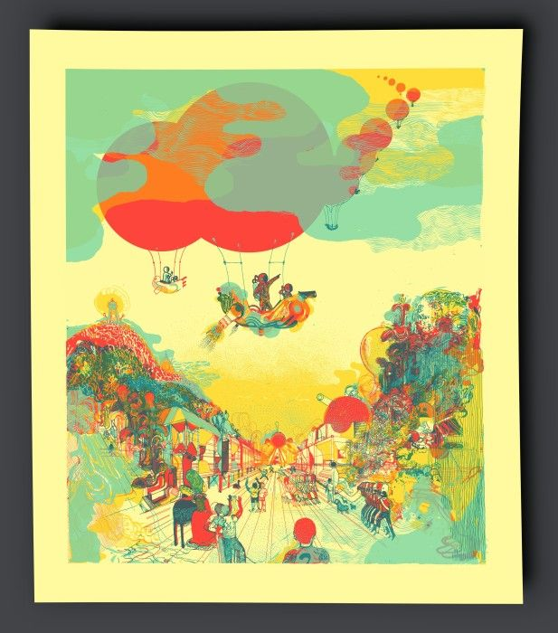 """Icinori """"Montgolfier"""" Silkscreen 4 colors  250g coloured paper 52 x 45 cm 40 ex, N° & Signed Icinori is made up of two designers Mayumi Otero and Raphael Urwiller based in Strasbourg, France"""