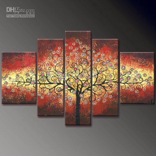 Wholesale hand-painted oil wall Colorful Gold native home decoration Landscape Framed oil painting on canvas 5
