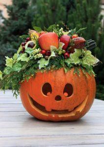 Stroik jesienny - Dynia ze stroikiem - na Halloween - ozdoba - dekoracja