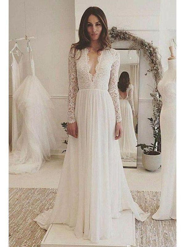 Long Sleeve Lace Top Beach Wedding Dresses V Neck Chiffon Wedding Dress AWD1149