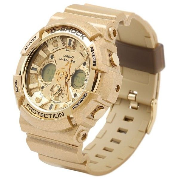 G-shock Women Crazy Gold Digital Watch ($255) ❤ liked on Polyvore featuring jewelry, watches, g shock wrist watch, gold wristwatches, yellow gold watches, gold jewelry and g shock watches