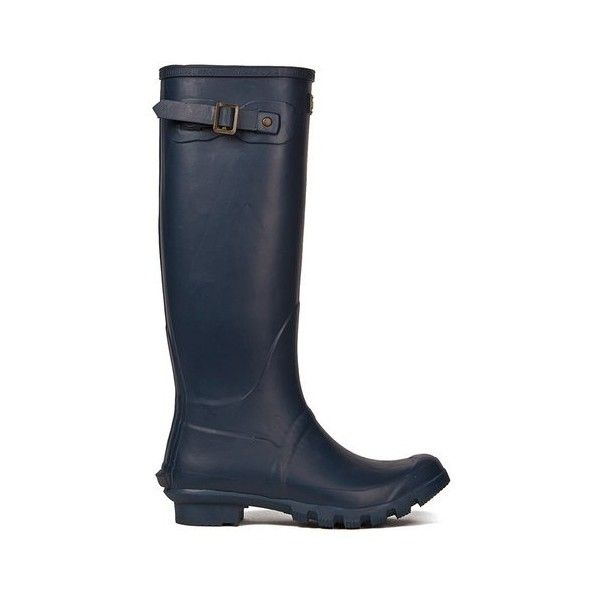 Barbour Women's Bede Classic Wellies - Navy (130 CAD) ❤ liked on Polyvore featuring shoes, boots, navy, tall boots, rubber rain boots, wellington rubber boots, tall shoes and rain boots