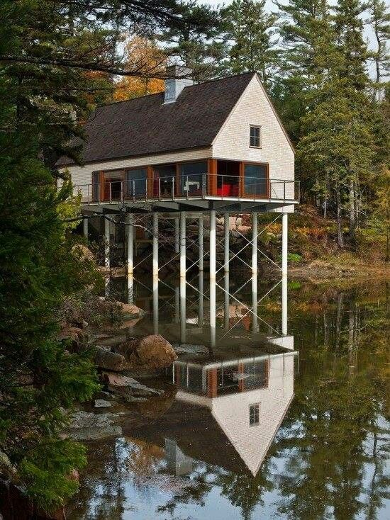 Lake house on stilts stilt houses pinterest lakes for Building a house in maine