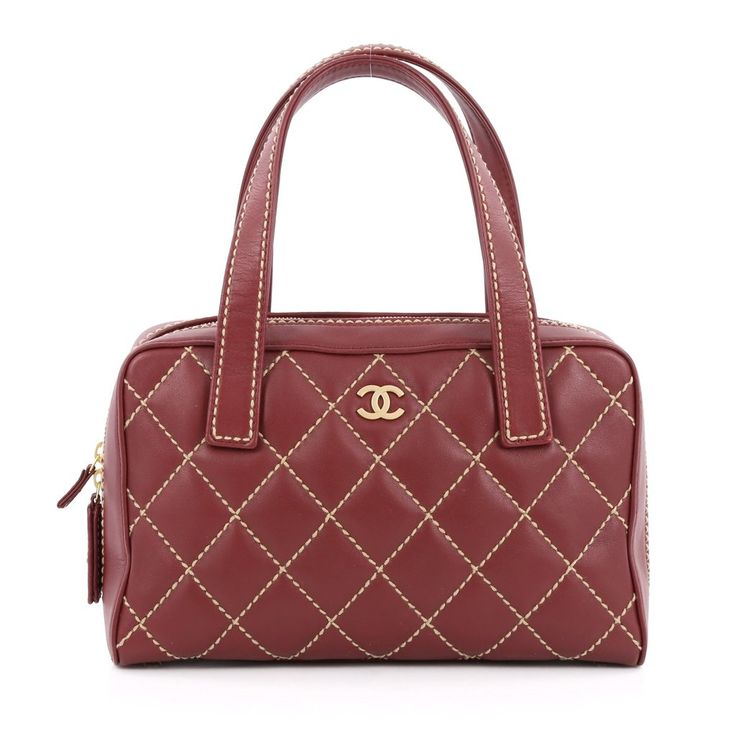 Online Sale - Authentic Red Chanel Surpique Zip Around Satchel Quilted Leather Medium at Trendlee.com. Guaranteed genuine! Financing available. 1604706